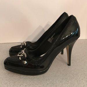 White House Black Market Shoes - WHBM boss lady black platform high heel pumps